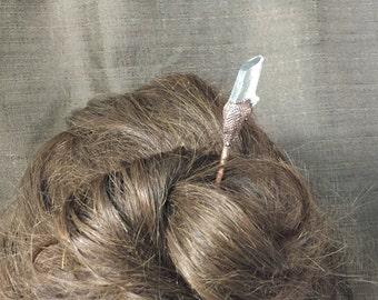 Quartz Crystal Hair Stick | Copper Wand Hairstick | Electroformed Gemstone | Boho | Agate Geode | Gemstone Hairstick | Bridal | Gypsy | Gift
