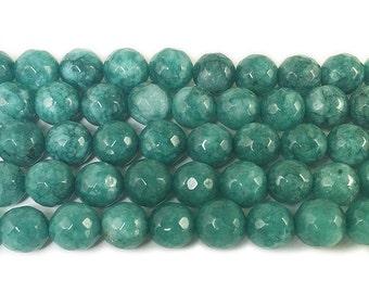 Dark Sea Green Jade Faceted Gemstone Beads