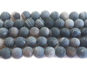 Dark Gray Matte Agate Round Gemstone Beads