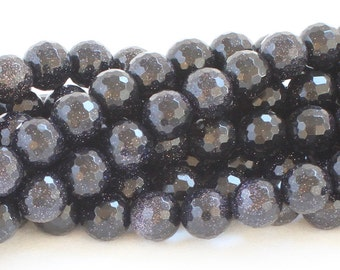 Blue Goldstone Faceted Beads