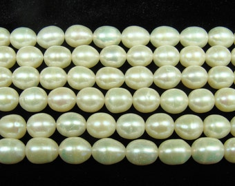 High Gloss White Rice Freshwater Pearl Beads