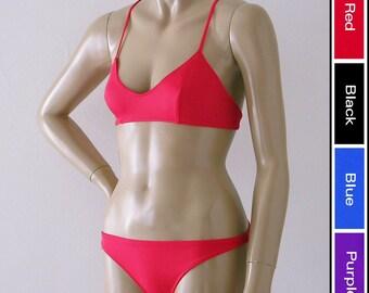 X Back Ballet Top and Brazilian Bikini Bottom Two Piece Bikini in Red, Black, Blue, or Purple in S.M.L.XL.
