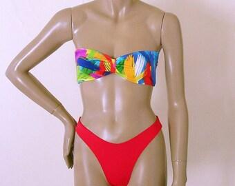 80s High Leg Bikini Bottom in Red with Bandeau Top in Brushstroke Print S.M.L.XL.