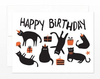 Funny Cats Birthday Card - Kittens & Cats in Party Hats Greeting Card, cat lovers card, card for her, black cat card, cat lady card