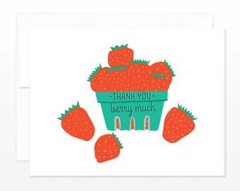 Thank You Berry Much Card, Strawberry Basket Thanks Card, Thank you wedding card, thanks mom card, grandma card, card for her, friend card