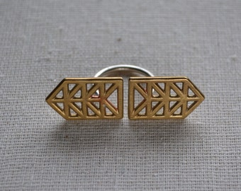 Large Double Truss ring in sterling and brass size 5