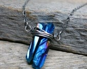 Deep Sea Precipice necklace ... sterling silver / wire wrapped / titanium blue quartz points