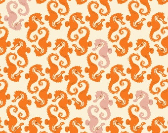 Mendocino Cream Orange Seahorses Heather Ross cotton quilt fabric - one yard or by the yard, mendocino fabric, heather ross fabric