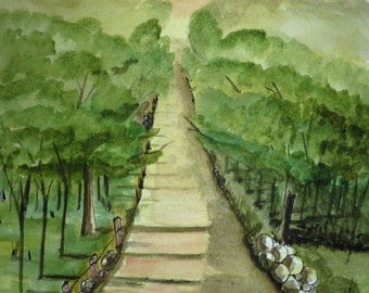 Long and Winding Road, Country road, old dirt road watercolor painting