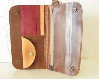 Multipass Wrist Wallet Wristlet in Brown Leather