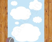 Instant Download Cloud Wall Art Gender Neutral Boy or Girl Blue Sky Decor Nursery Bedroom Printable 8x10 Digital JPG File (232)