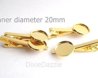 20 pieces gold tie bar bases, tie clip, gold tie slide, tie slide, tie bar supplies, gold blank, 20mm, DIY graduation, wedding, groomsmen