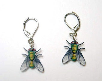 Handcrafted Plastic House Fly Insect Leverback Earrings Made in USA