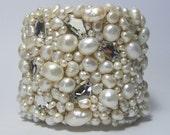 Bridal Jewelry, Bridal Pearl Cuff Bracelet, Statement Bracelet- free shipping