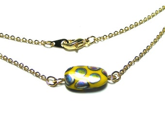 Czech bead necklace, Simple necklace, Simple bead necklace, Everyday necklace, Single bead chain necklace, Czech glass bead pendant necklace