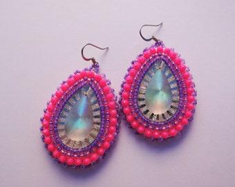 Neon Pink and Purple Beaded Earrings