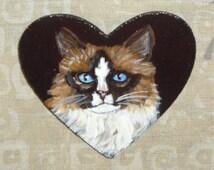Ragamuffin Ragdoll Cat Custom Hand Painted Pin Brooch Jewelry