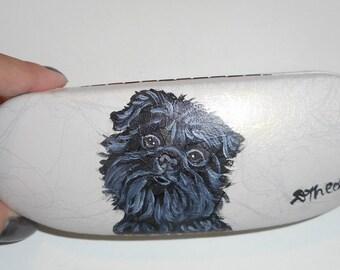 Affenpinscher Dog  Hand Painted Eyeglass Case Vegan