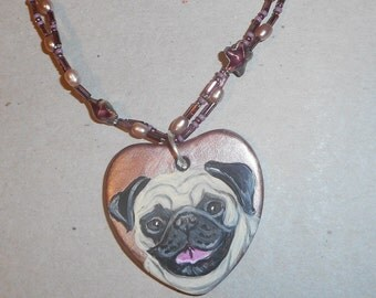 Fawn Pug Dog Beaded Necklace Hand Painted Pendant OOAK Jewelry