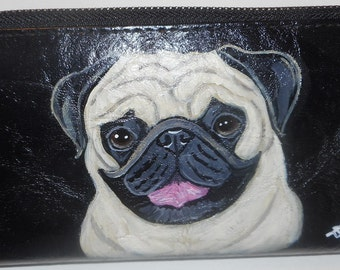 Pug Dog Custom Hand Painted Ladies Faux Leather Large Wallet