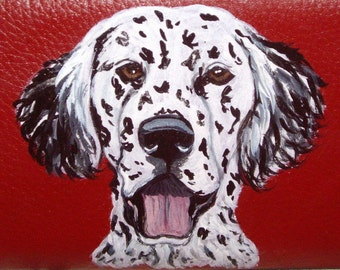 English Setter Dog Custom Hand Painted Leather Wallet for Women