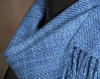 blue scarf / handwoven merino wool scarf / winter scarf