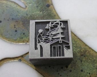 Printer Setting Type Vintage Metal Letterpress Printers Block