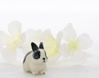 Small Black White Dutch Bunny Rabbit Necklace B.W. - Bunny Necklace - Rabbit Jewelry - Dutch Rabbit