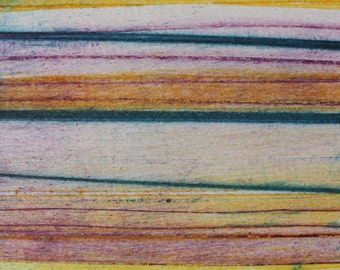 Stripes 91 - yellow, pink, turquoise striped Collagraph hand-pulled print - 4.25 x 4.25 inches OOAK
