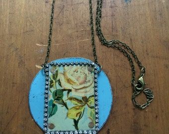Rose vintage tin and rhinestone necklace