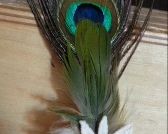 Feather hair clip Copper a Sun brown cream