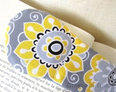 Grey Book Weight - Gray, Yellow, White, Black Fabric with Flowers - Floral Bookweight