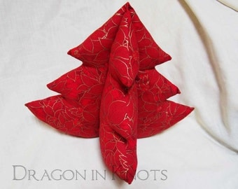 "Poinsettia Tabletop Christmas Tree - 12"" Red and Gold Cotton Fabric Plush Stuffed Holiday Decor - 3D Traditional Centerpiece Decoration"