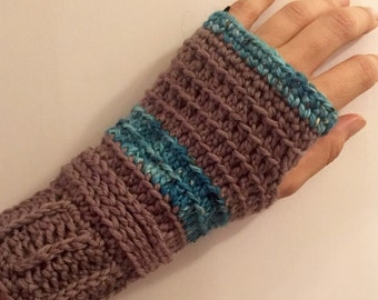 Fingerless gloves camel merino alpaca taupe and teal