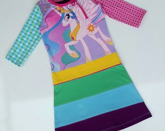 Size 7 (50 1/2 inch height) Upcycled t-shirt girls dress my little pony