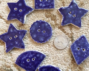 "Handmade Ceramic Buttons-Lot of 8-Large buttons-Range from 1.25""-2"" in diameter-Blue-Various Shapes"