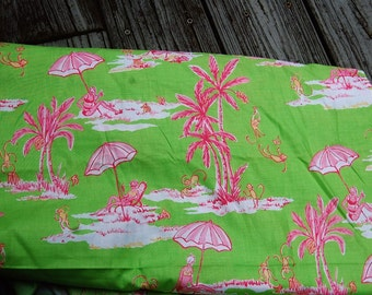 "Lilly Pulitzer Inspired Palm Beach Green and Pink Fabric Sunbathing Monkeys 6 and 1/3 yds. x 42"" wide"