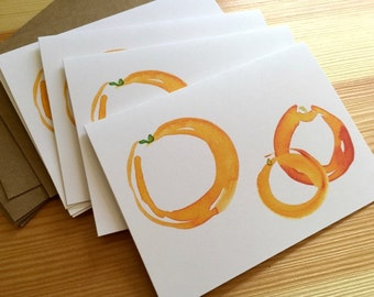 Orange Trio Note Cards - Watercolor Oranges Folded Note Cards - Abstract Blank Oranges Cards - Box of 6