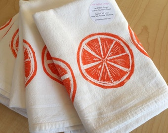 Oranges Kitchen Towel - Citrus Fruit Tea Towel - Soft Cotton Flour Sack Towel - Hand Block Printed - Ready to Ship!