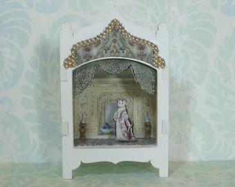 Miniature Toy Theater Vignette with Elegant Cat