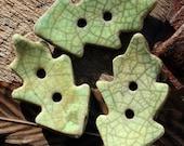 Handmade RAKU Lime Green leaf Button Set of 3