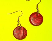 Vintage 1980s RED Wooden Coin Circle Dangle Drop Earrings