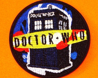 Doctor Who Blue DW New Series TARDIS Logo BBC Red and Yellow Iron or Sew On Patch