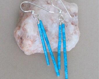 Kingman Turquoise Heishi Earrings - Double Dangle Earrings - Long Turquoise Dangle Earrings 2 3/4 inch - Tiny Heishi 2mm - Blue Turquoise