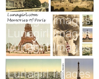 PARIS digital collage sheet DOWNLOAD vintage travel postcards images Eiffel Tower, romantic tinted photos women French ephemera altered art