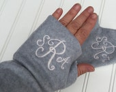 Monogram Fingerless Gloves-texting gloves -wrist warmer fleece gloves - best gifts for women - holiday gifts - personalized and monogrammed