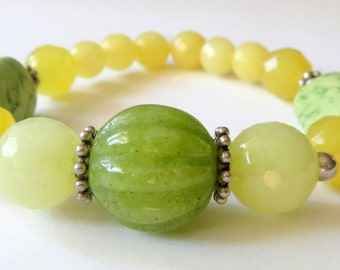 Yellow and Green Jade Bracelet, Citrus Jade Stretch Bracelet, Stackable Jewelry, Lime Green Lemon Yellow Beaded Bracelet