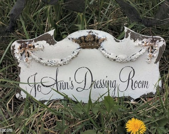 Shabby Chic Business Sign | Door Hanger | Personalized Name Sign | Vintage Inspired Sign | Crown and Swag Motif