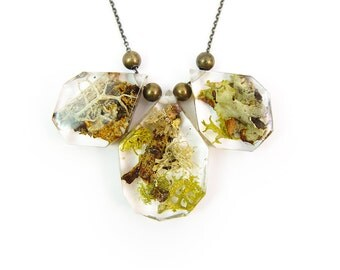 Geometric Terrarium Statement Necklace • Science Jewelry • Resin Moss Pendant • Eco Resin Specimen Jewelry • Terrarium Statement Jewelry
