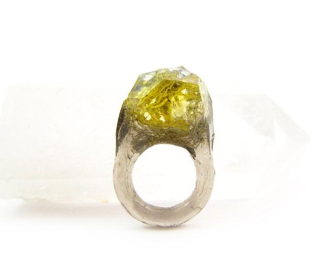 Terrarium + Silver Leaf Resin Ring • Size 4 - 4.5